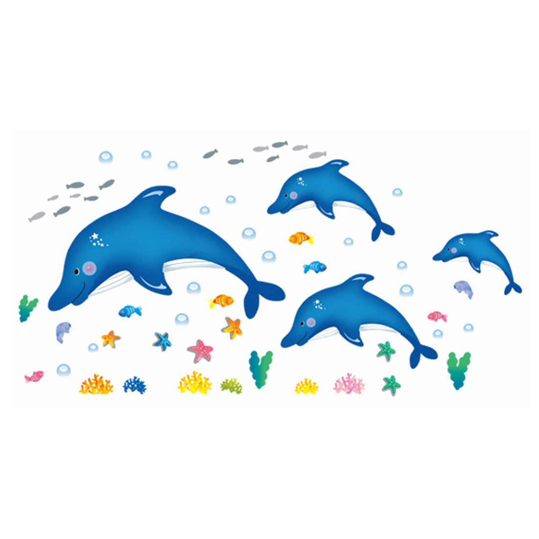 Home Bedroom Decor Fish Dolphin Pattern Self Adhesive Wall Sticker Decal
