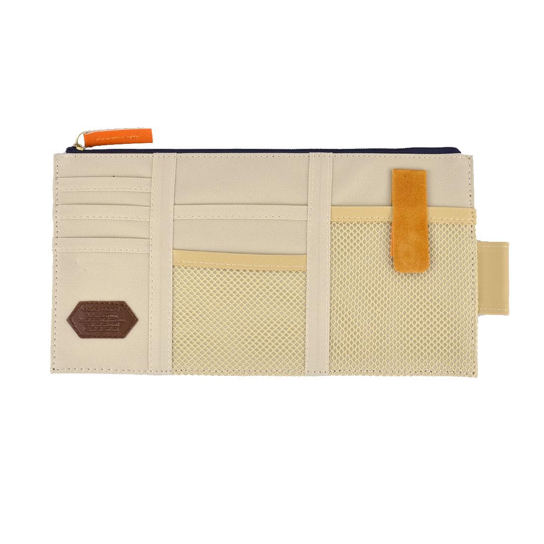 Beige Auto Car Sun Visor Point Pocket Organizer Pouch Bag Card Storage Holder