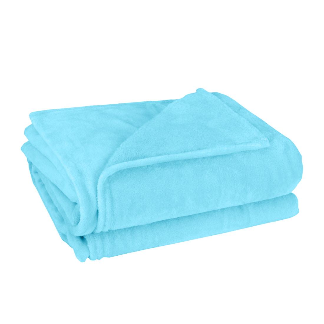 Sofa Polyester Plush Throw Blanket Warm Soft Pure Sky Blue King Size 200 x 230cm