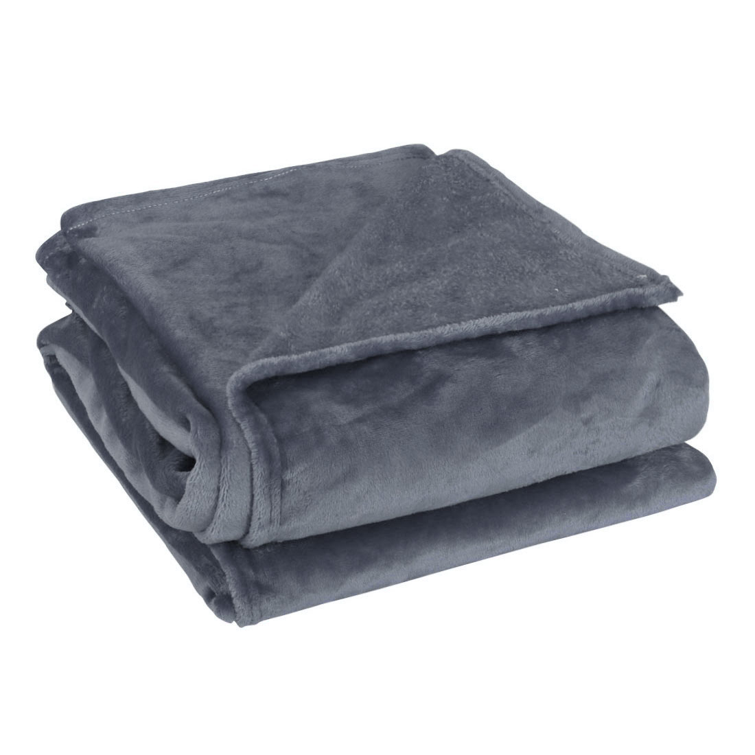 Bedding Couch Polyester Warm Soft Throws Blanket Dark Gray Twin Size 150 x 200cm
