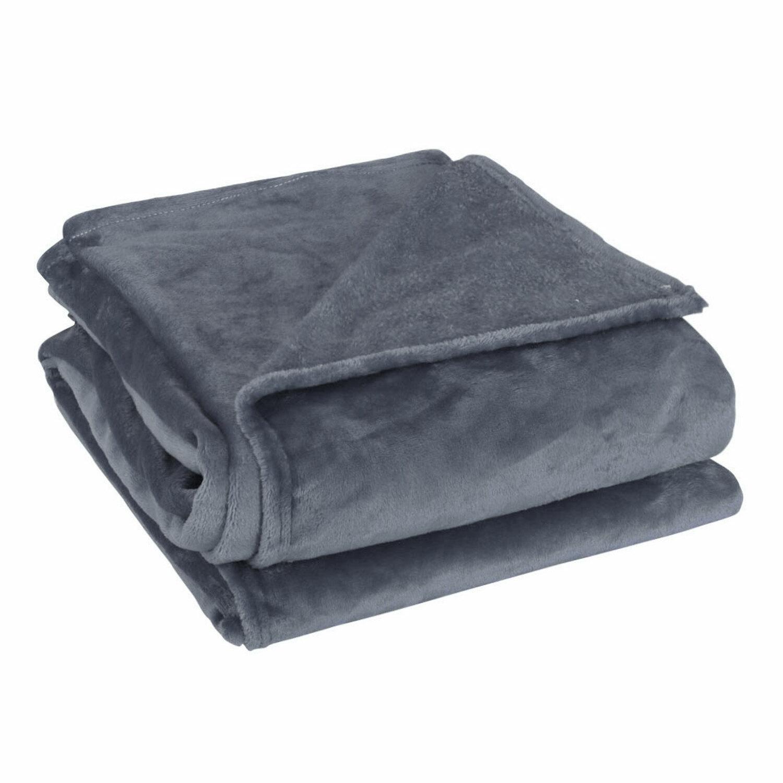 Soft Warm Fleece Blanket Throw Rug Plain Plush Flannel Blankets Dark Gray Queen