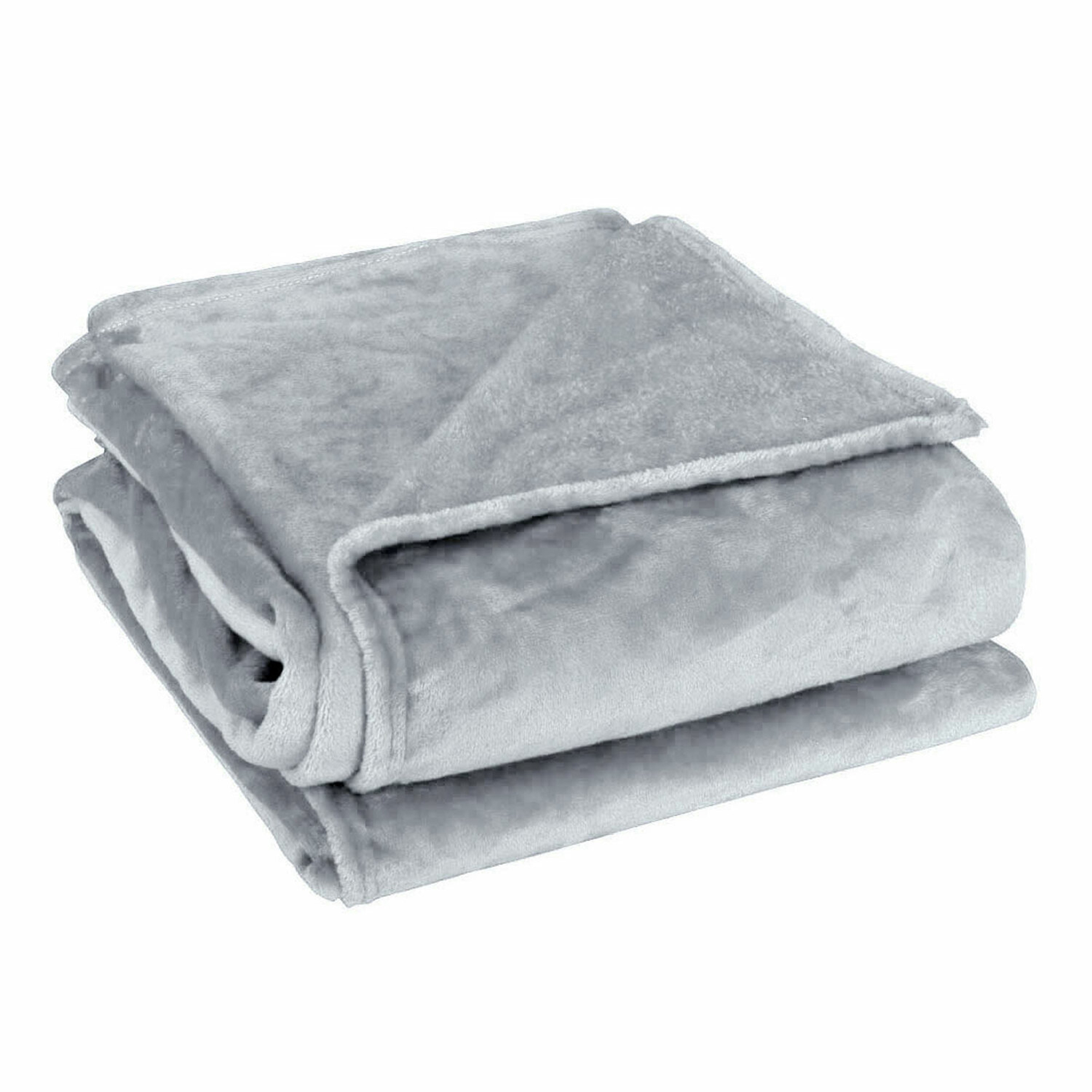 Sofa Polyester plush Throws Blanket Warm Soft Light Gray Full Size 180 x 200cm