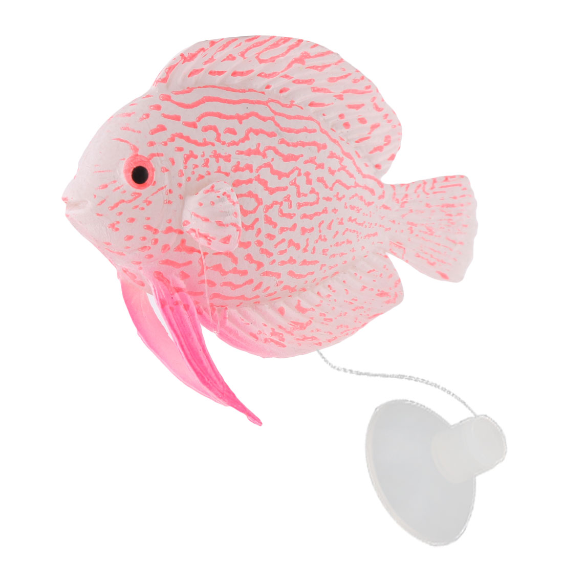 Aquarium Fish Tank Suction Cup Artificial Tropical Fish Decor Decoration Pink White