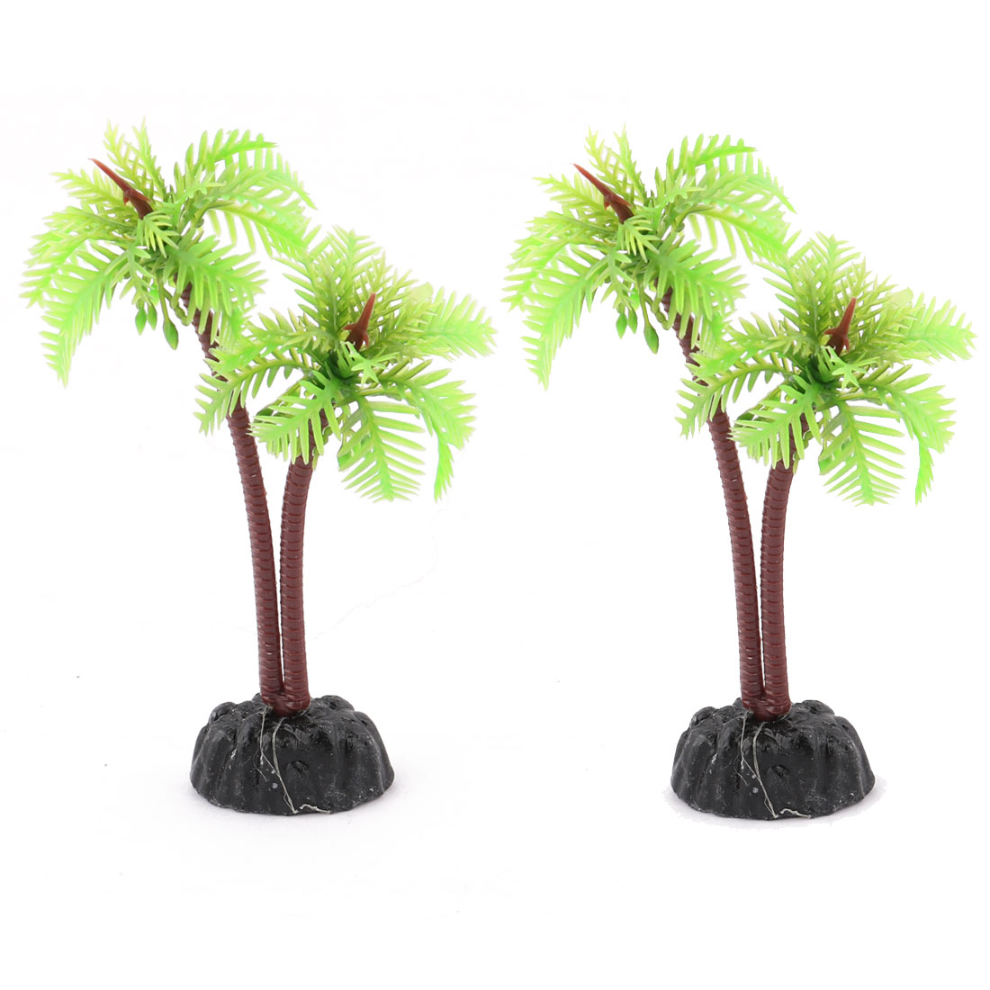 Aquarium Imitate Coconut Tree Underwater Plant Decor Decoration 2pcs