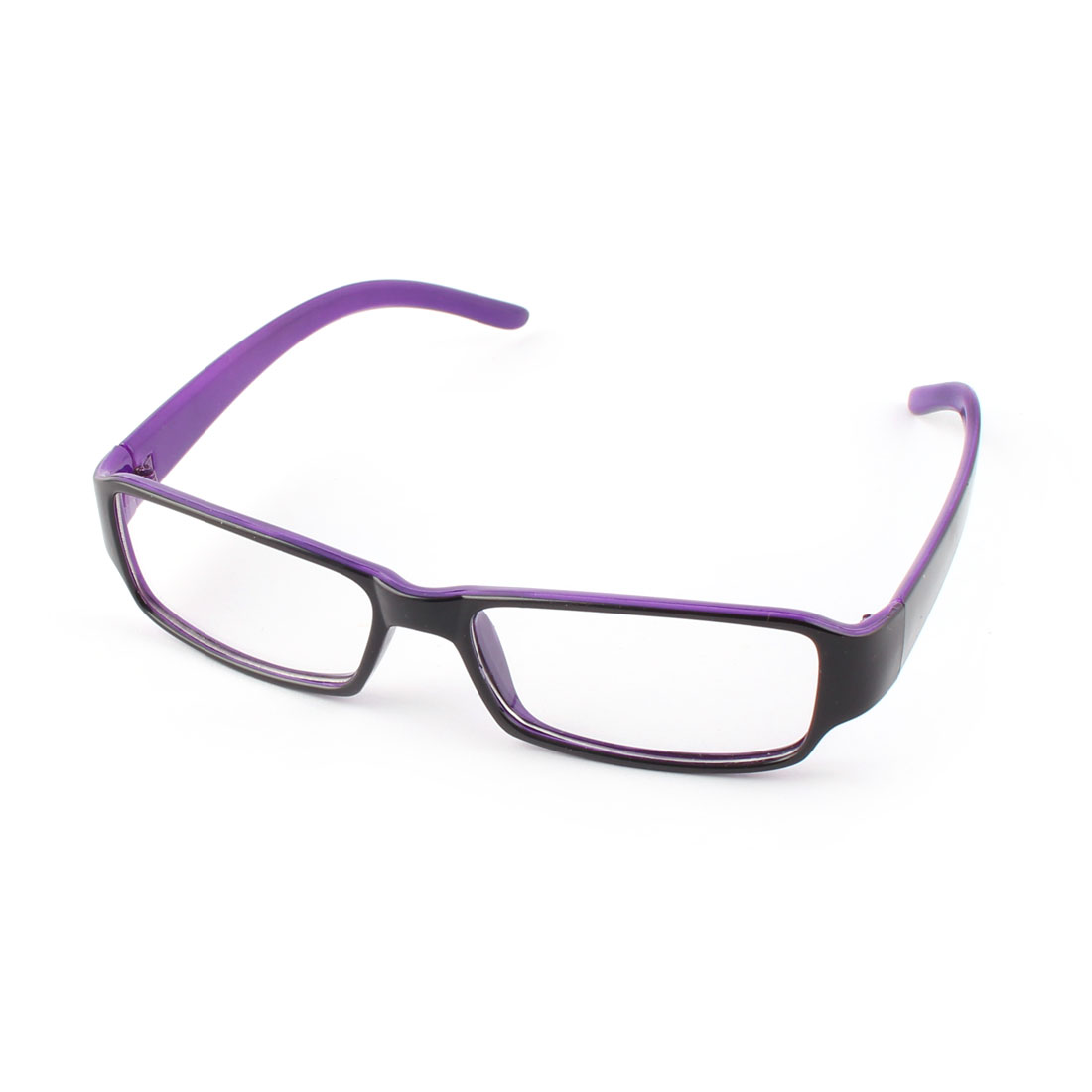 Lady Plastic Rectangle Clear Lens Plain Glasses Eyeglasses Purple w Case