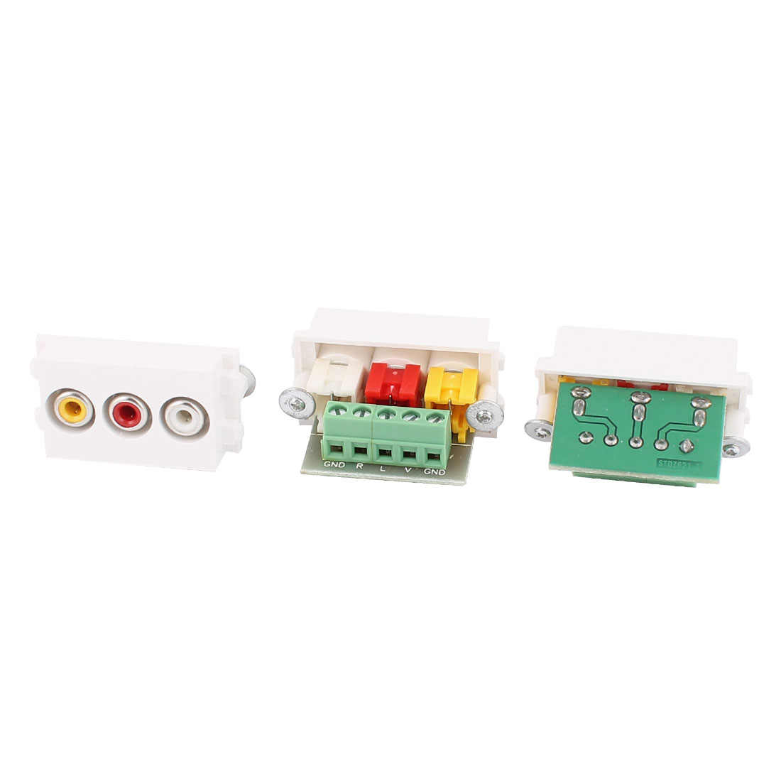 3 Pcs RCA AV Female Vedio Audio Jack Adapter Modular Socket for 128 Wall Plate Panel