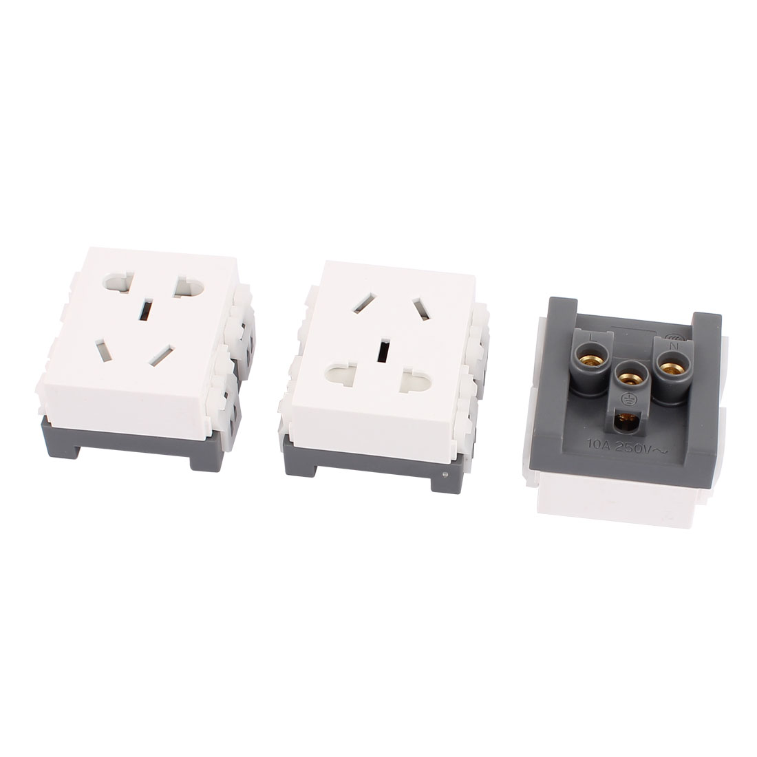 3 Pcs AC250V 10A AU EU US Socket Electrical Modular Power Outlet for 86 Wall Plate Panel