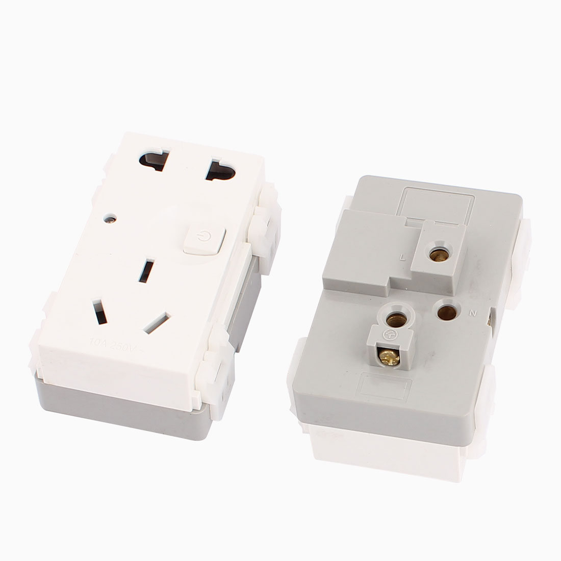 2 Pcs AC 250V 10A AU US EU Socket Electrical Switched Power Outlet for 86 Wall Plate Panel