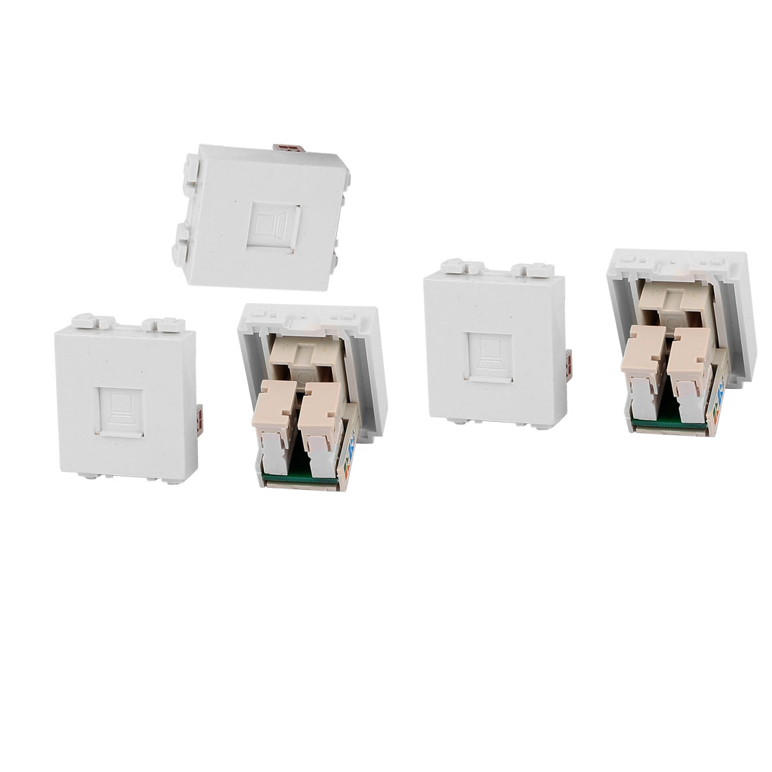 5 Pcs RJ45 8P8C PC Notebook Network Coupler Connection Modular Socket for 128 Wall Plate Panel