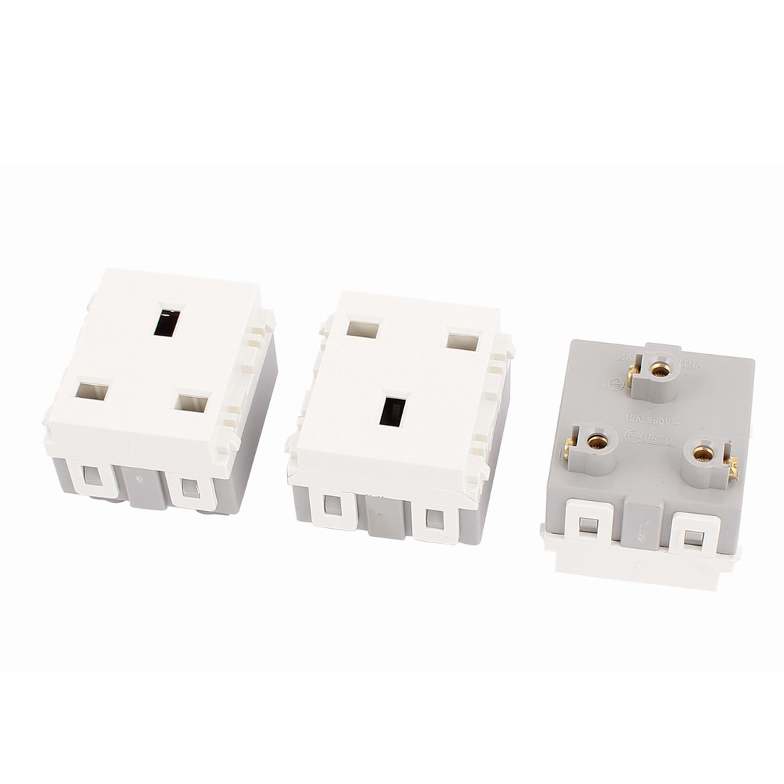 3 Pcs AC 250V 13A UK Socket Electrical Modular Power Outlet for 86 Wall Plate Panel