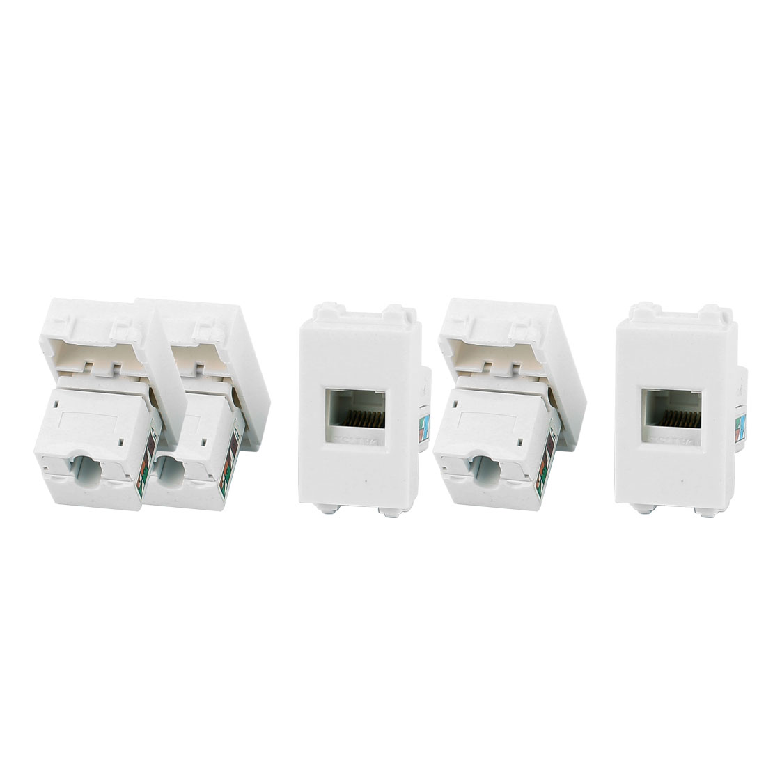 5 Pcs RJ45 8P8C PC Notebook Network Coupler Connect Modular Socket for 128 Wall Plate Panel
