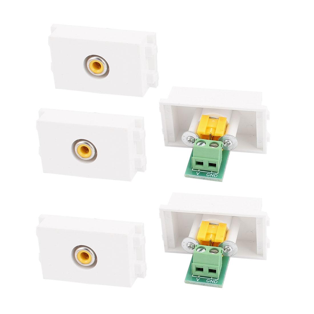 5 Pcs RCA AV Single Female Jack Adapter Modular Socket for 128 Wall Plate Panel