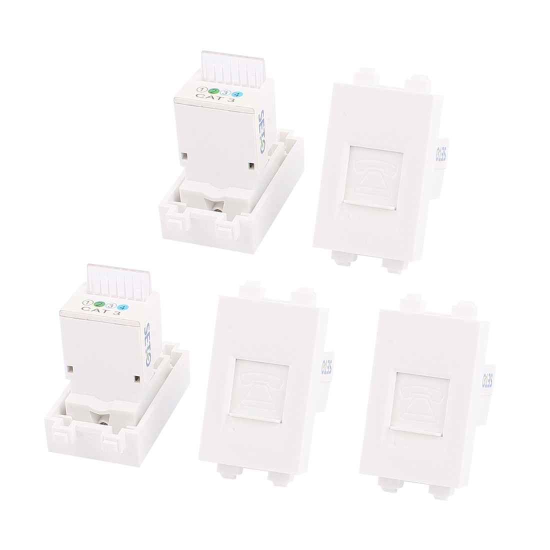 5 Pcs RJ11 8P4C Phone Coupler Connector Modular Socket for 128 Wall Plate Panel
