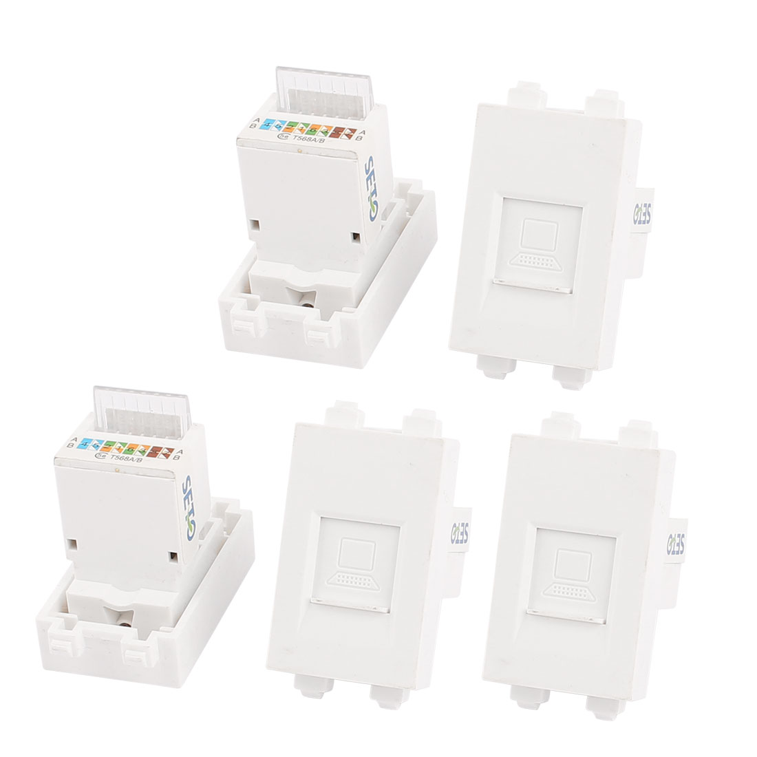 5 Pcs RJ45 8P8C PC Computer Network Coupler Connection Modular Socket for 128 Wall Plate Panel