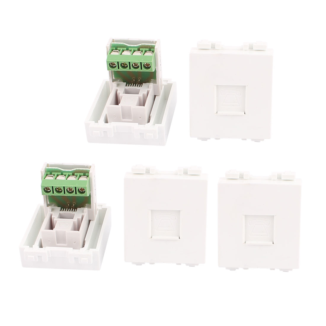 5Pcs RJ11 8P4C Phone Coupler Connector Modular Socket for 128 Wall Plate Panel