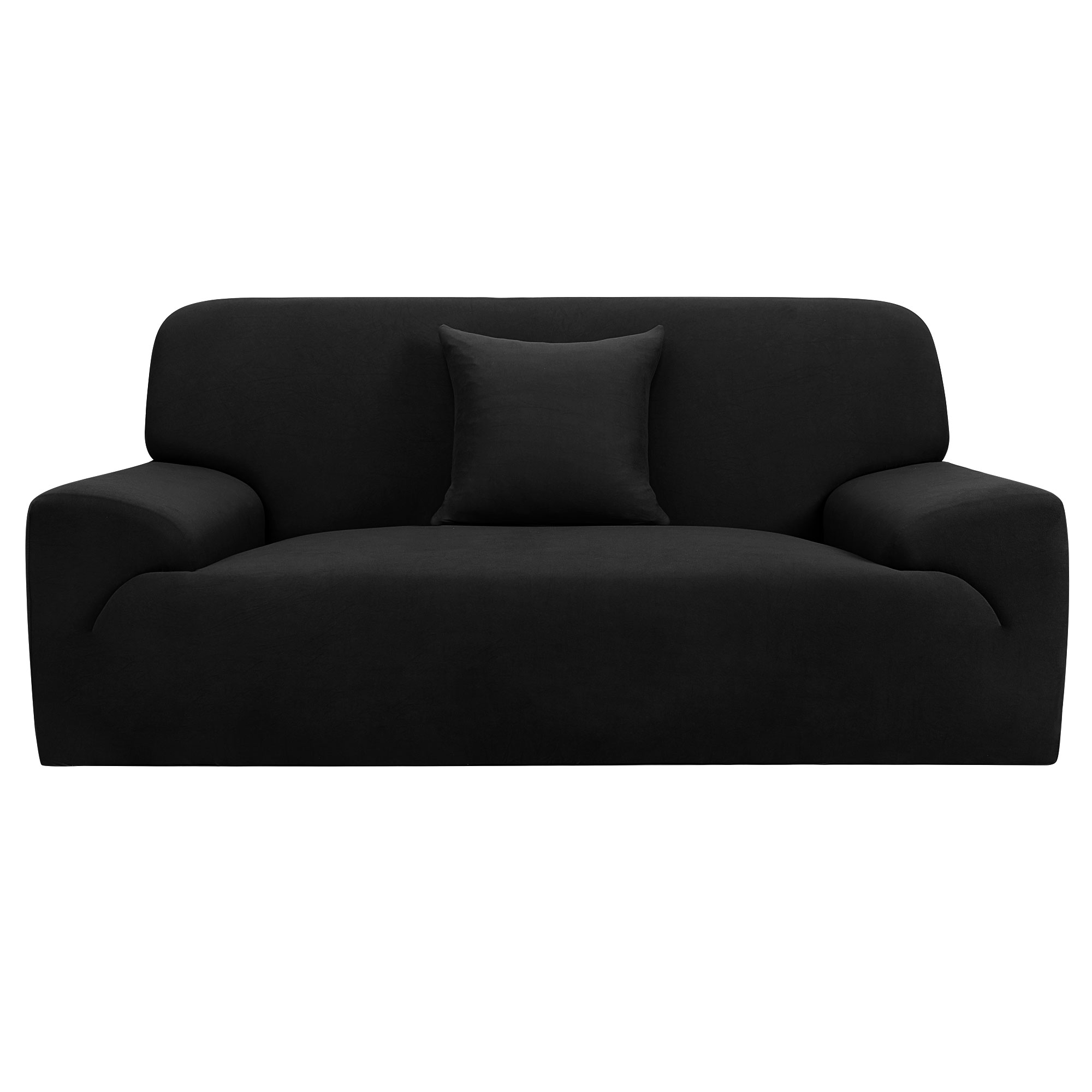 Furniture Sofa Couch Stretch Cover Slipcover Protector Black 74''-90''