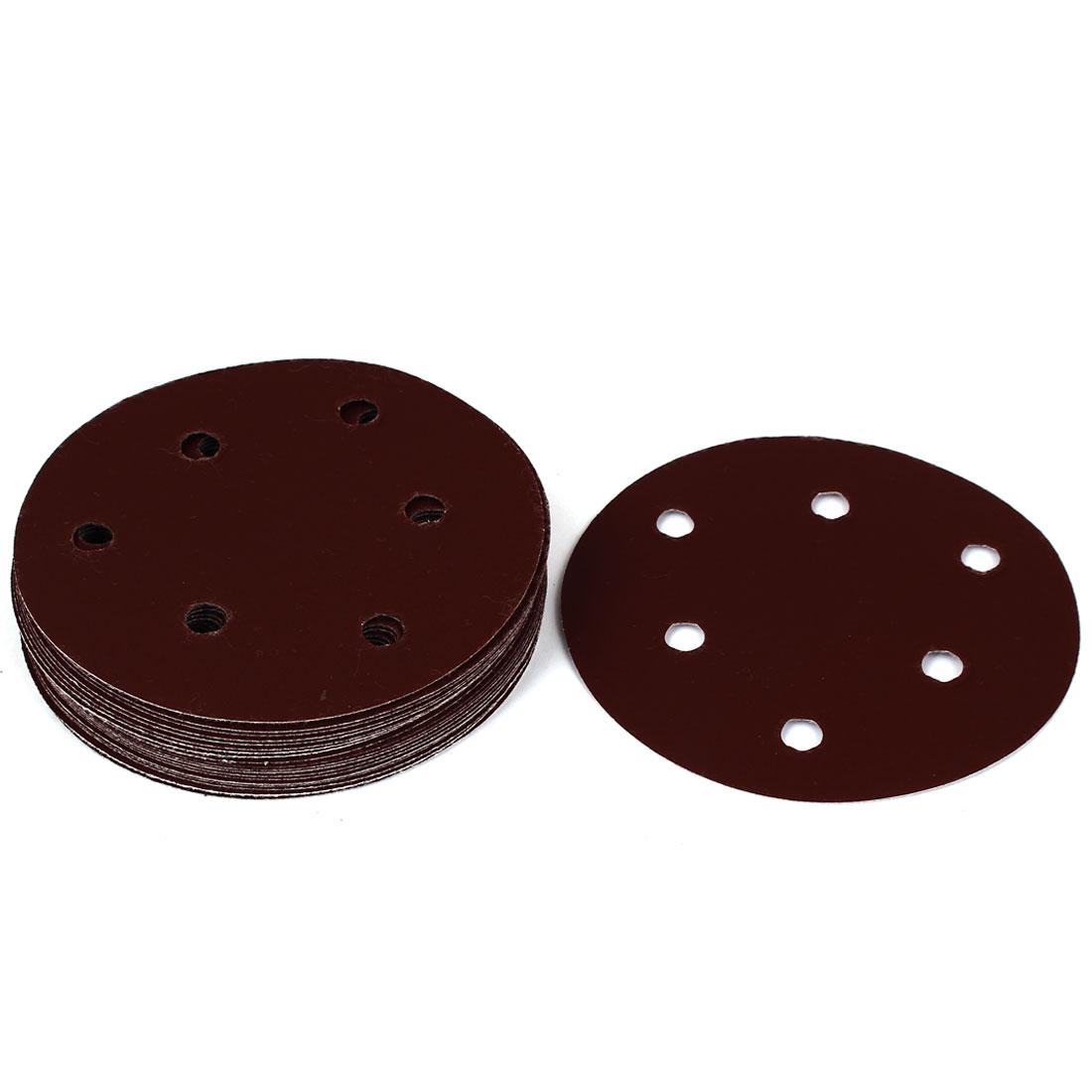 "5"" Dia 600 Grit 6 Holes Sanding Paper Disc Sandpaper 20pcs for Oscillating Tool"