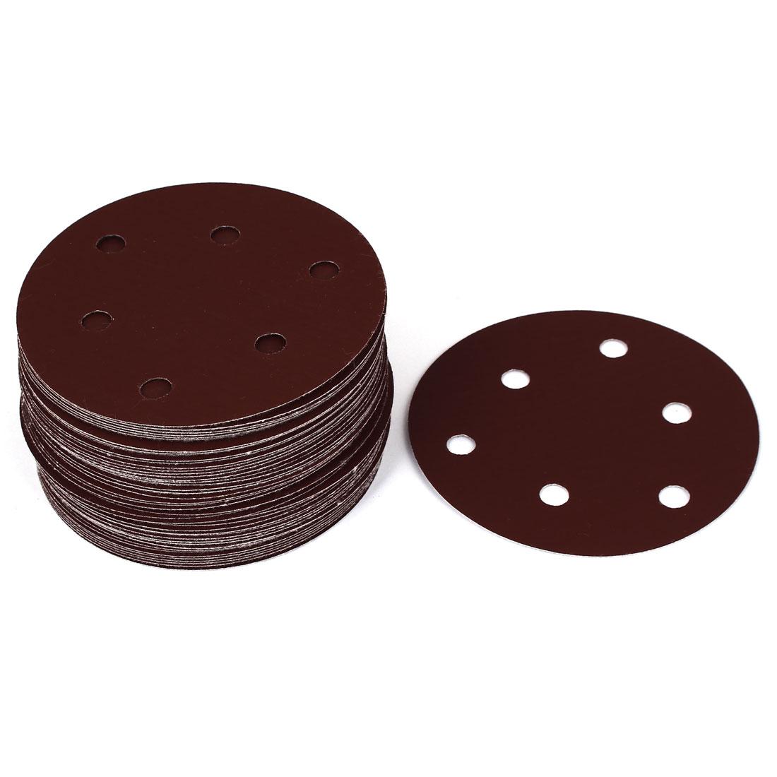 """5"""" Dia 1200 Grit 6 Holes Sanding Paper Disc Sandpaper 50pcs"""