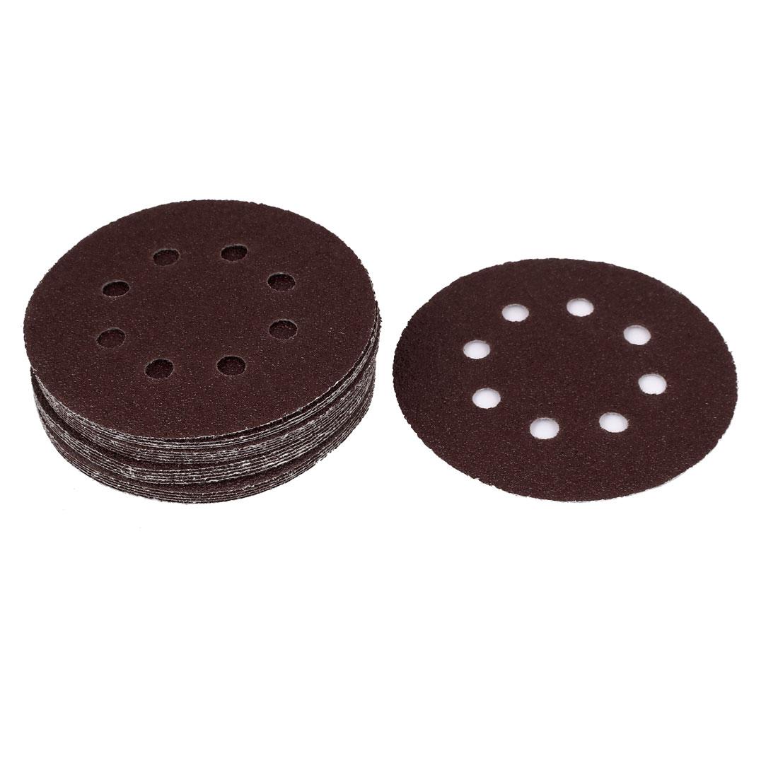 "5"" Dia 40 Grit Abrasives Hook and Loop Back Sandpaper Discs Dark Brown 20 Pcs"