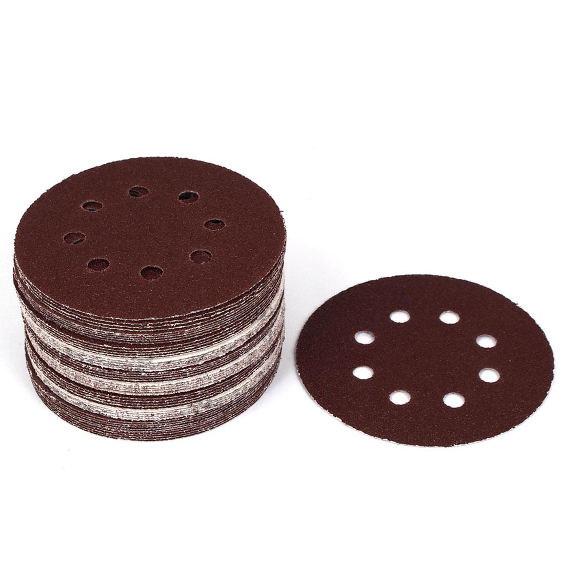 125mm Dia 40 Grit 8 Holes Hook and Loop Sanding Paper Discs Dark Brown 50 Pcs