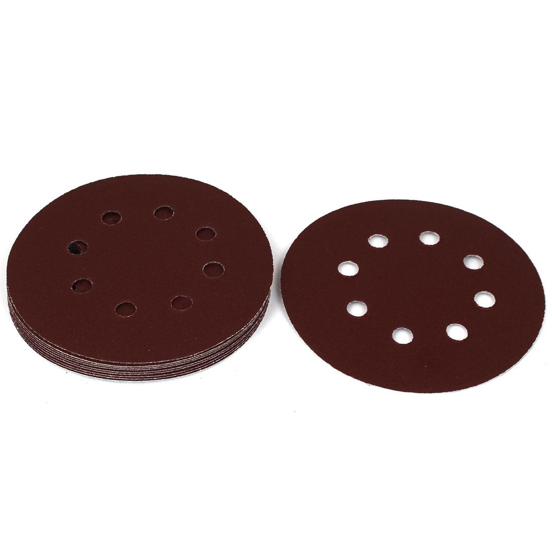 "5"" Dia 180 Grit 8 Holes Sanding Disc Sandpaper 10pcs for Oscillating Tool"