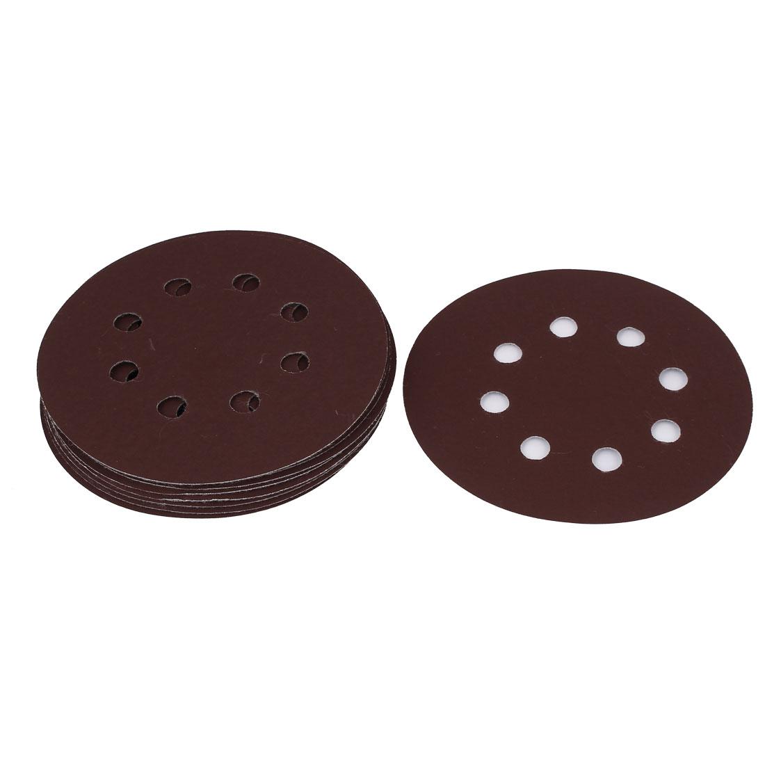 125mm Dia 8 Hole 1500 Grit Abrasive Grinding Hook and Loop Sanding Discs 10pcs