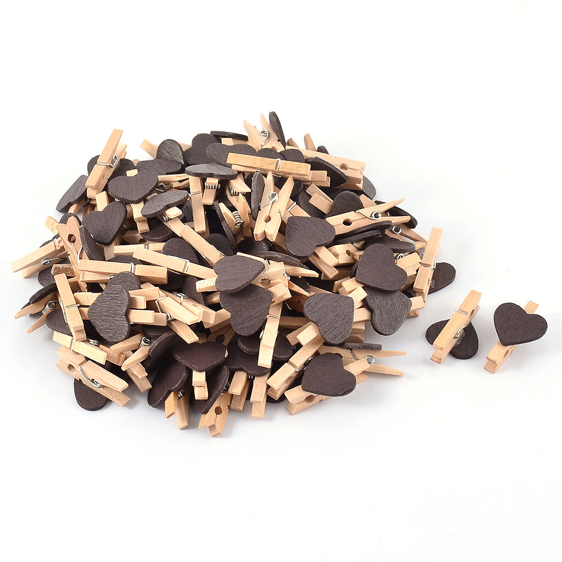 Party Photo Paper DIY Heart Shape Crafts Mini Wooden Clip Pegs Black 100pcs