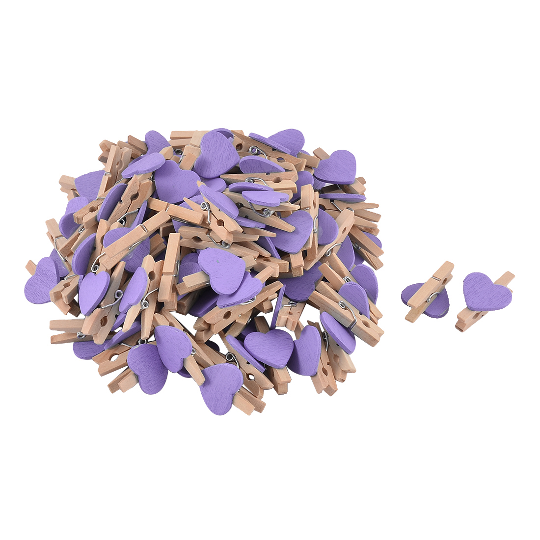 Card Photo Heart Shape DIY Crafts Spring Peg Mini Wooden Clip Purple 100pcs