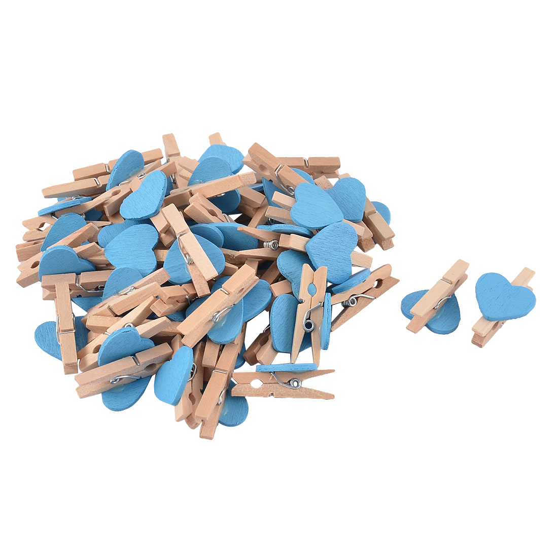 Card Photo Heart Shape Crafts Clothespin Pegs Mini Wooden Clip Blue 50pcs