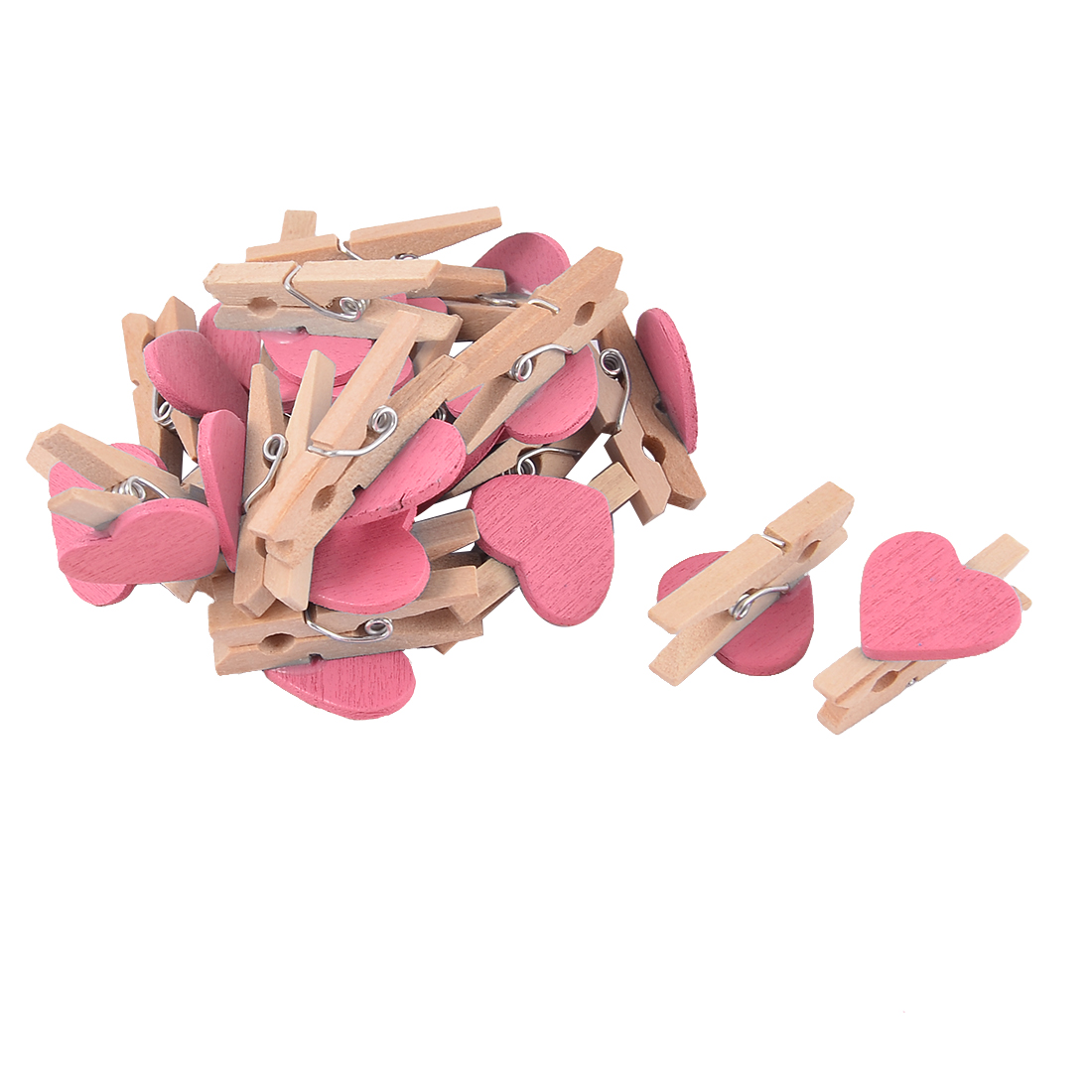 Weeding Christmas Decoration Card Photo Crafts Mini Wooden Clip Pink 20pcs