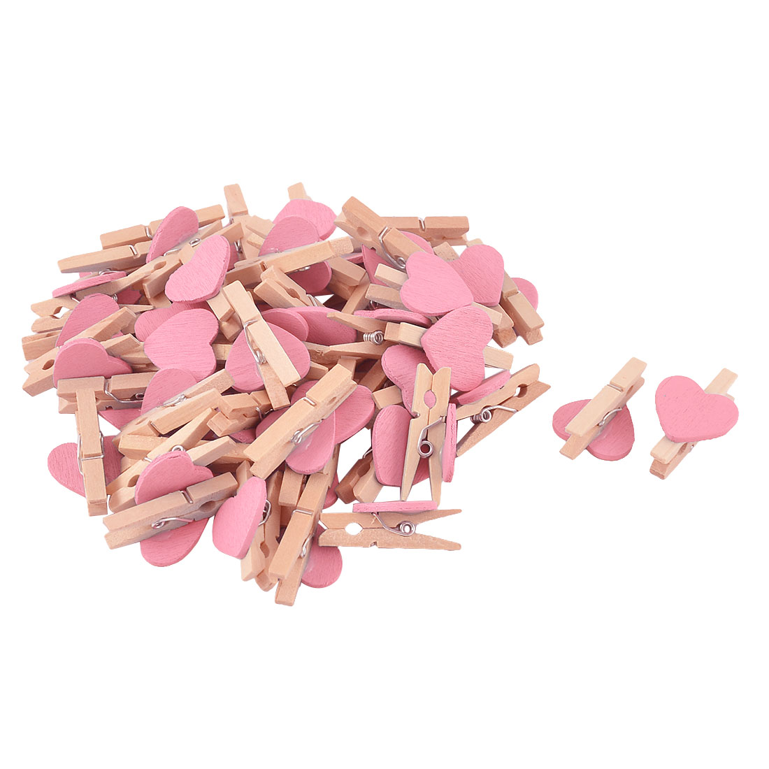 Card Photo Decoration DIY Heart Shape Crafts Mini Wooden Clip Pink 50pcs