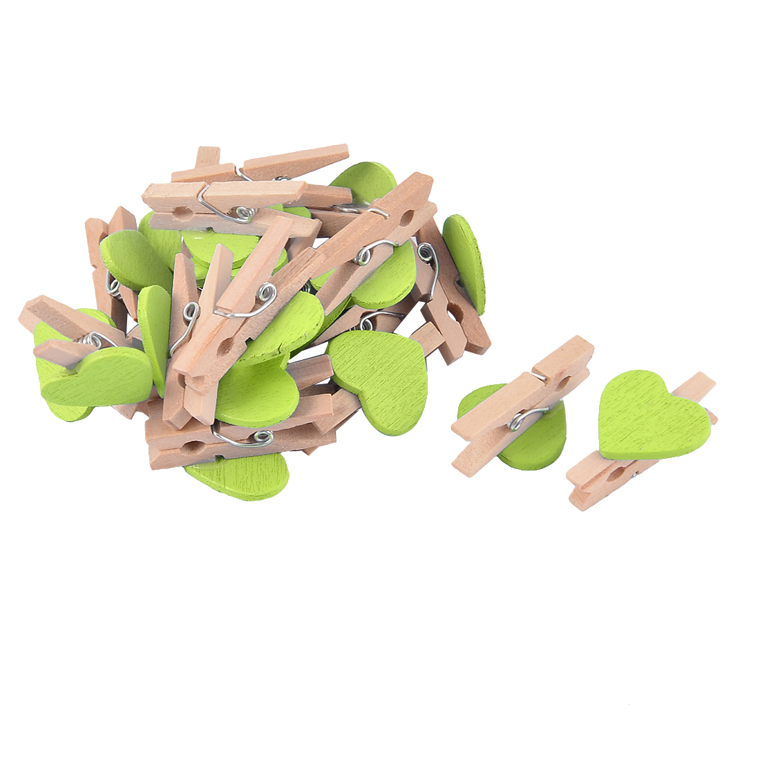 Album Card Photo Paper Love Heart Crafts Mini Wooden Clip Pegs Green 20pcs