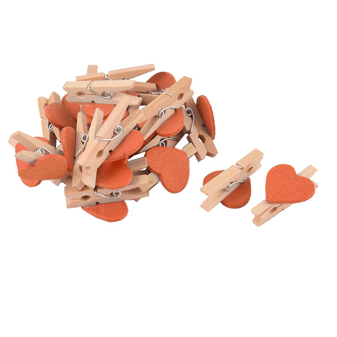 Party Card Photo Decoration Love Heart Mini Wooden Clip Pegs Orange 20pcs