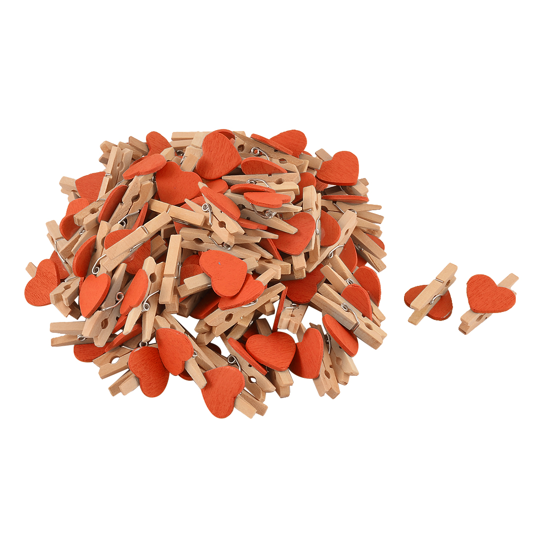 Card Photo Clothes DIY Crafts Spring Pegs Mini Wooden Clip Orange 100pcs