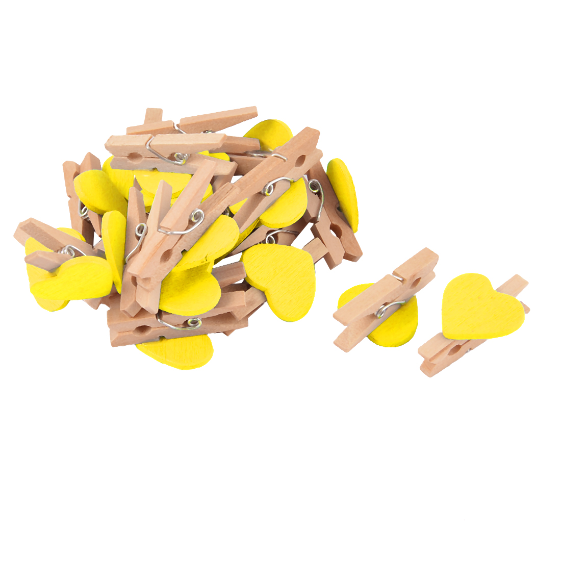 Party Card Photo Decoration Love Heart Mini Wooden Clip Pegs Yellow 20pcs