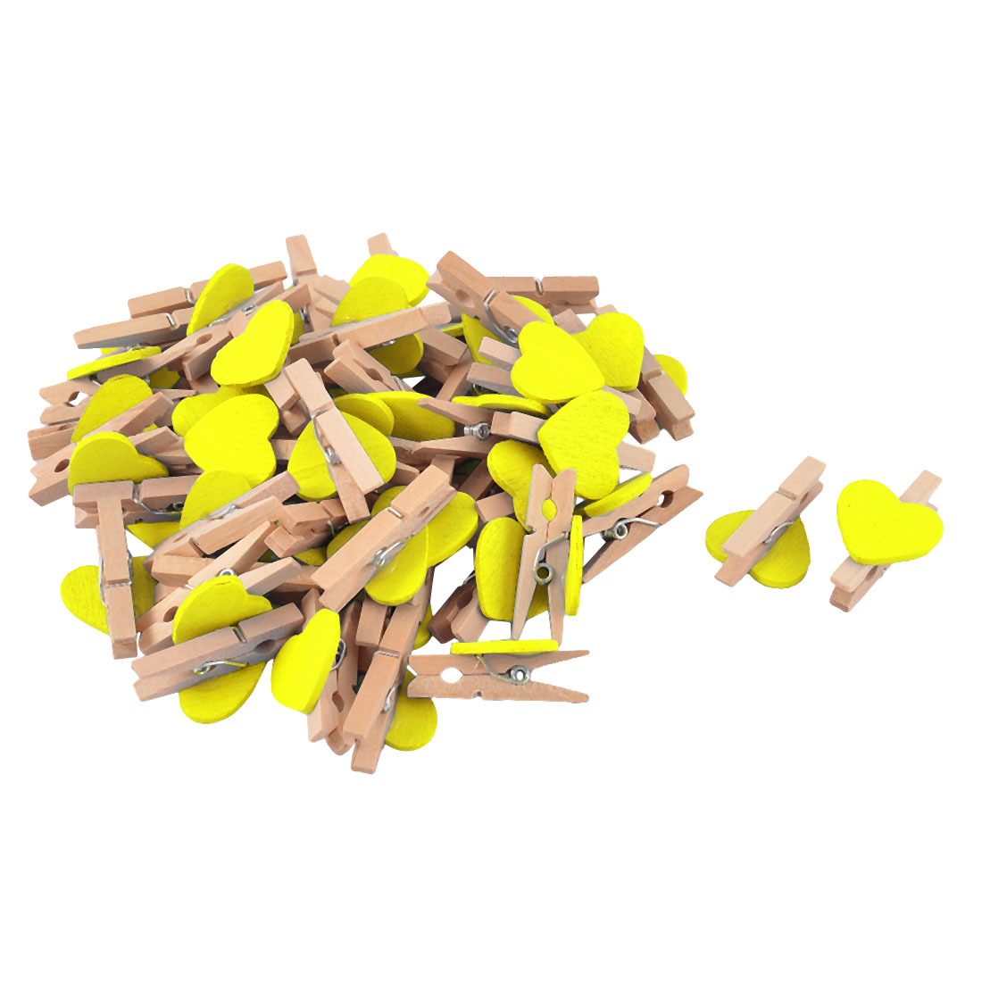 Card Photo Clothes Heart Shape Spring Pegs Mini Wooden Clip Yellow 50pcs