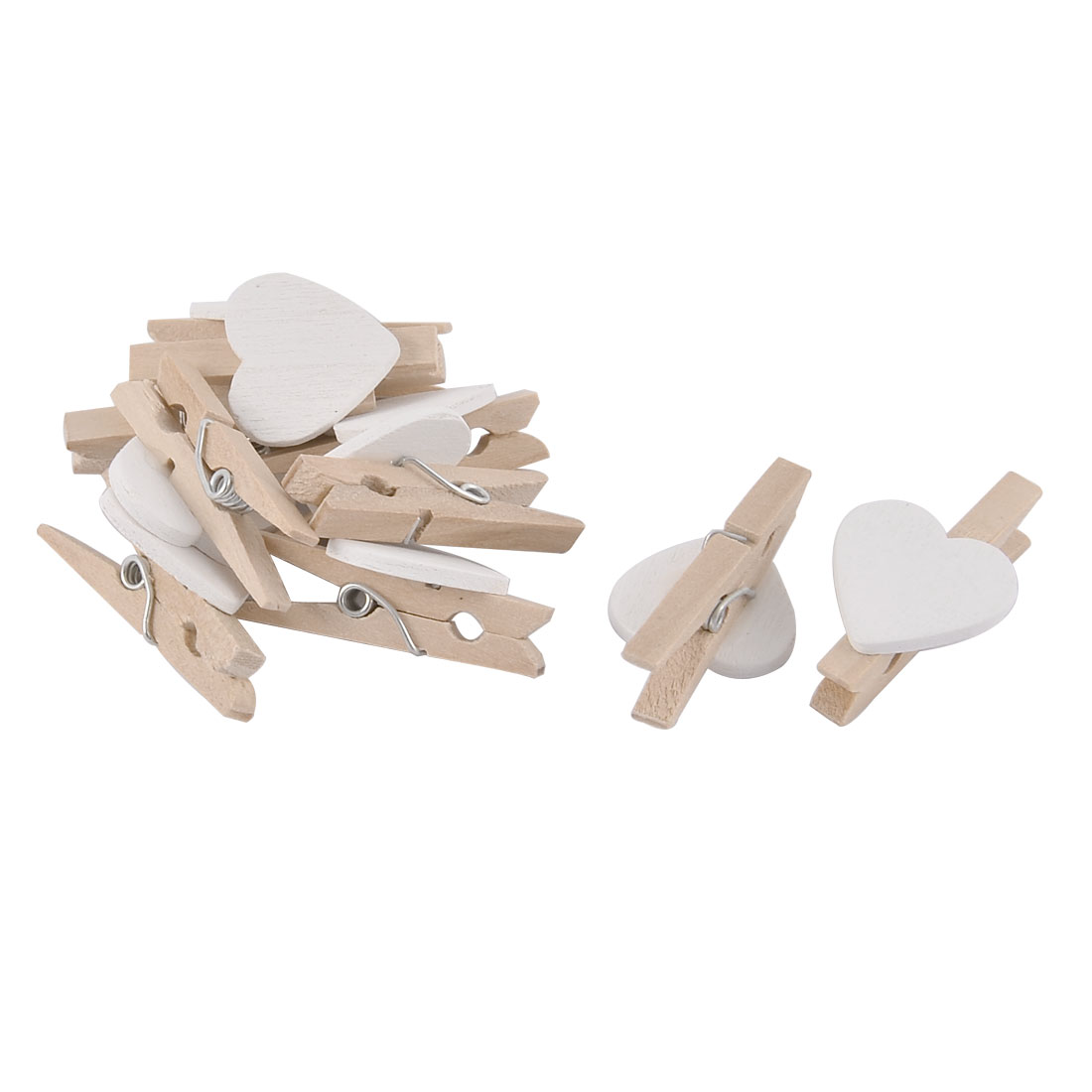 Card Photo Love Heart DIY Spring Pegs Crafts Mini Wooden Clip White 10pcs