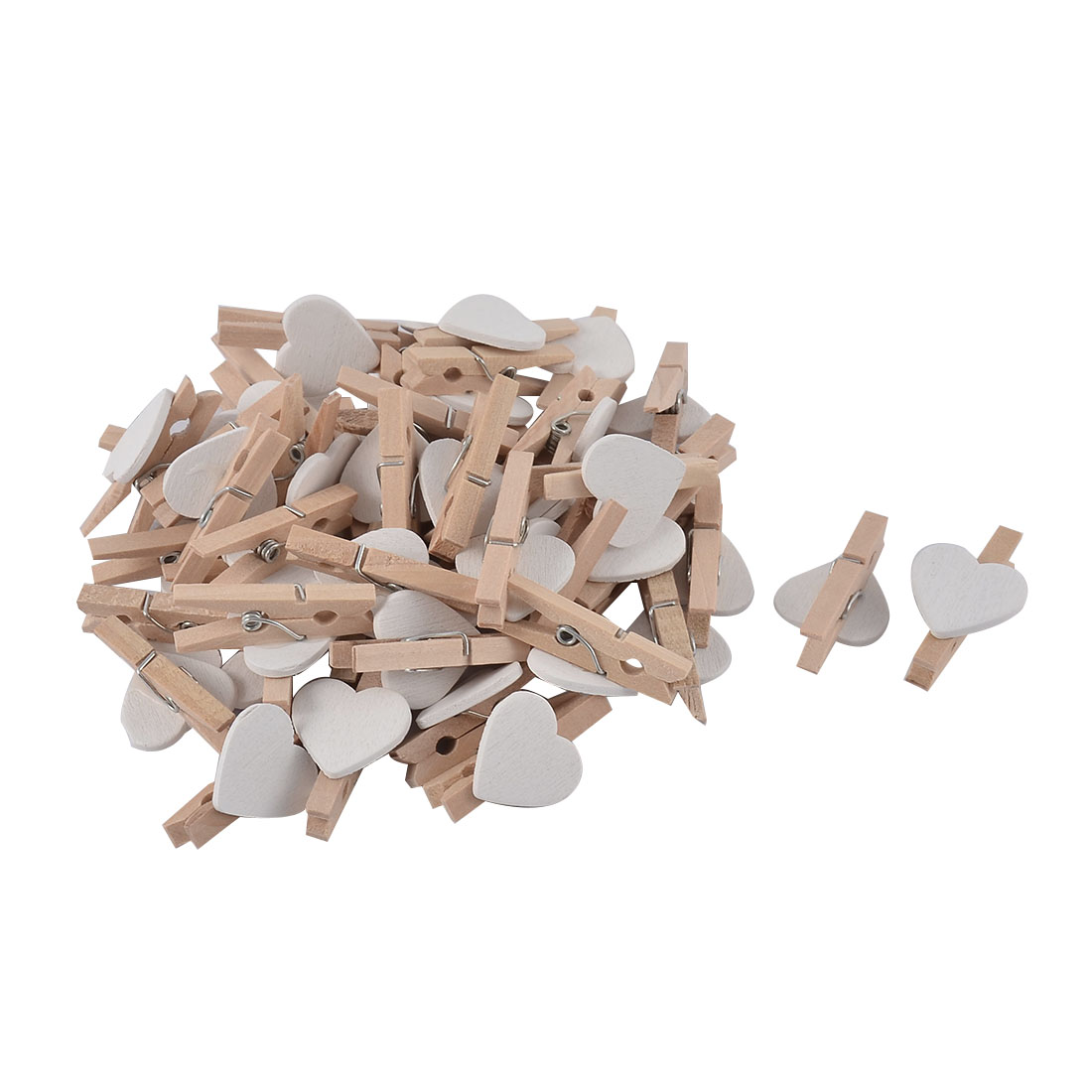 Card Photo Clothes DIY Heart Shape Crafts Mini Wooden Clip Pegs White 50pcs