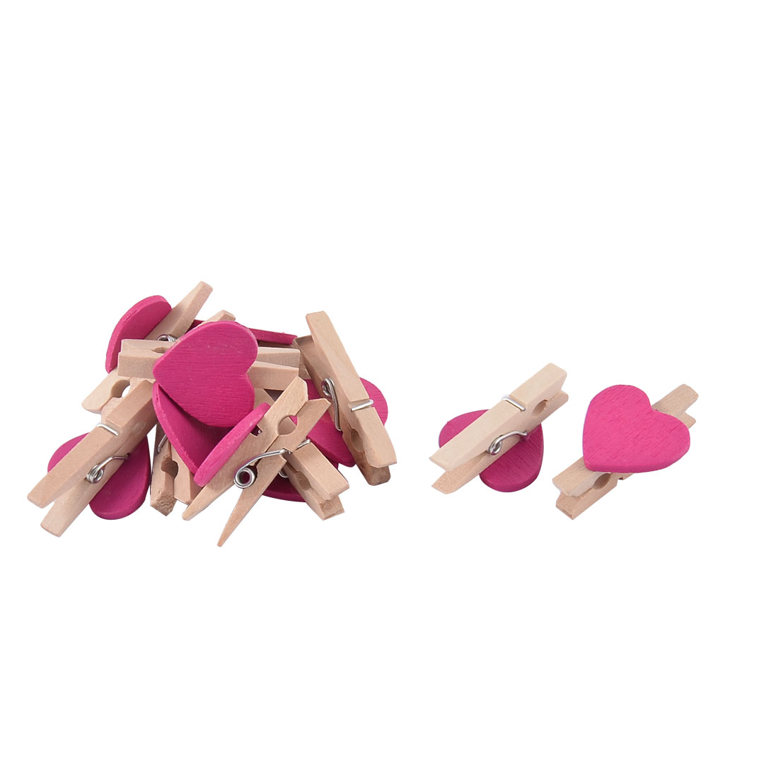 Love Heart Weeding Card Photo Decorating Peg Mini Wooden Clip Fuchsia 10pcs