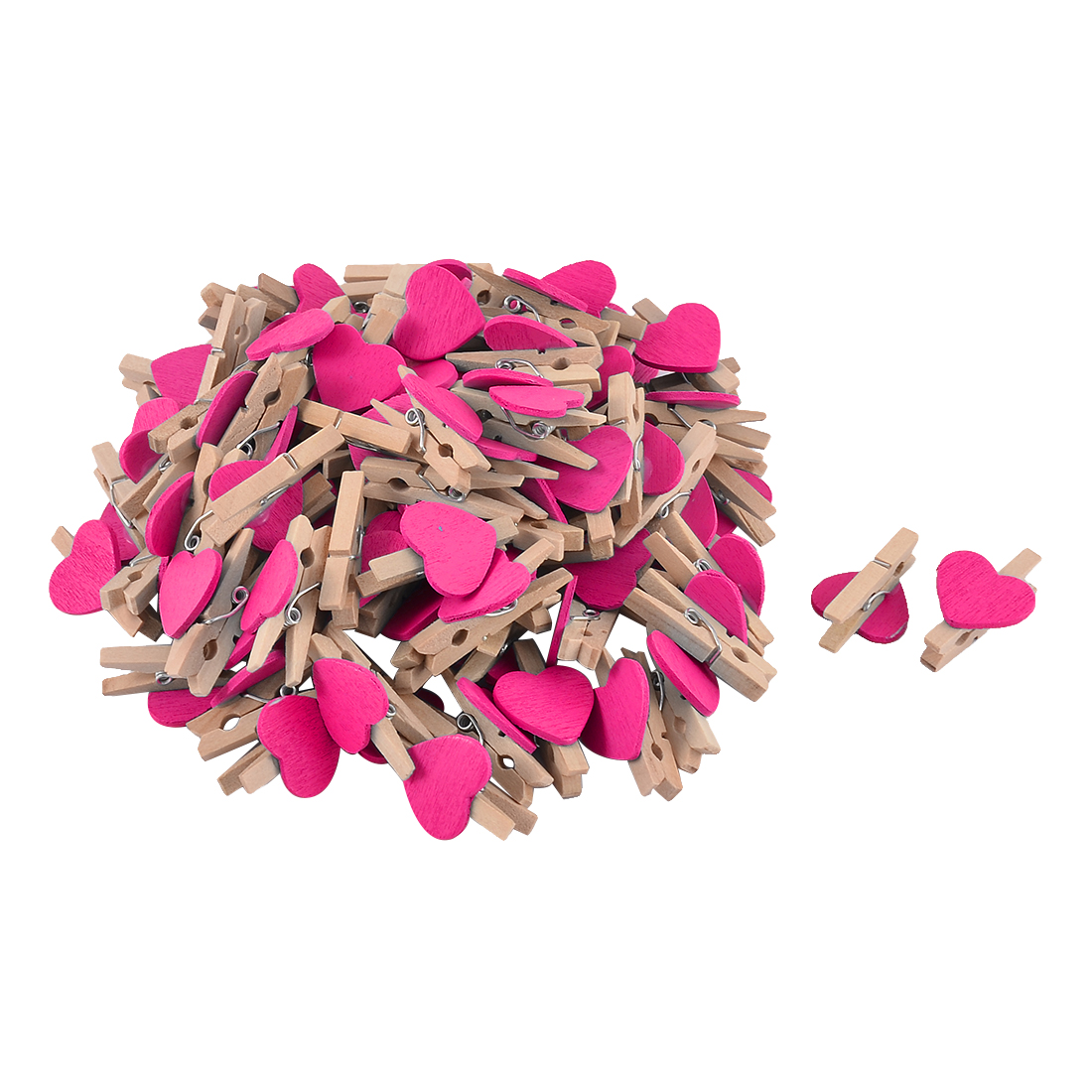 Card Photo Clothes DIY Crafts Spring Pegs Mini Wooden Clip Fuchsia 100pcs