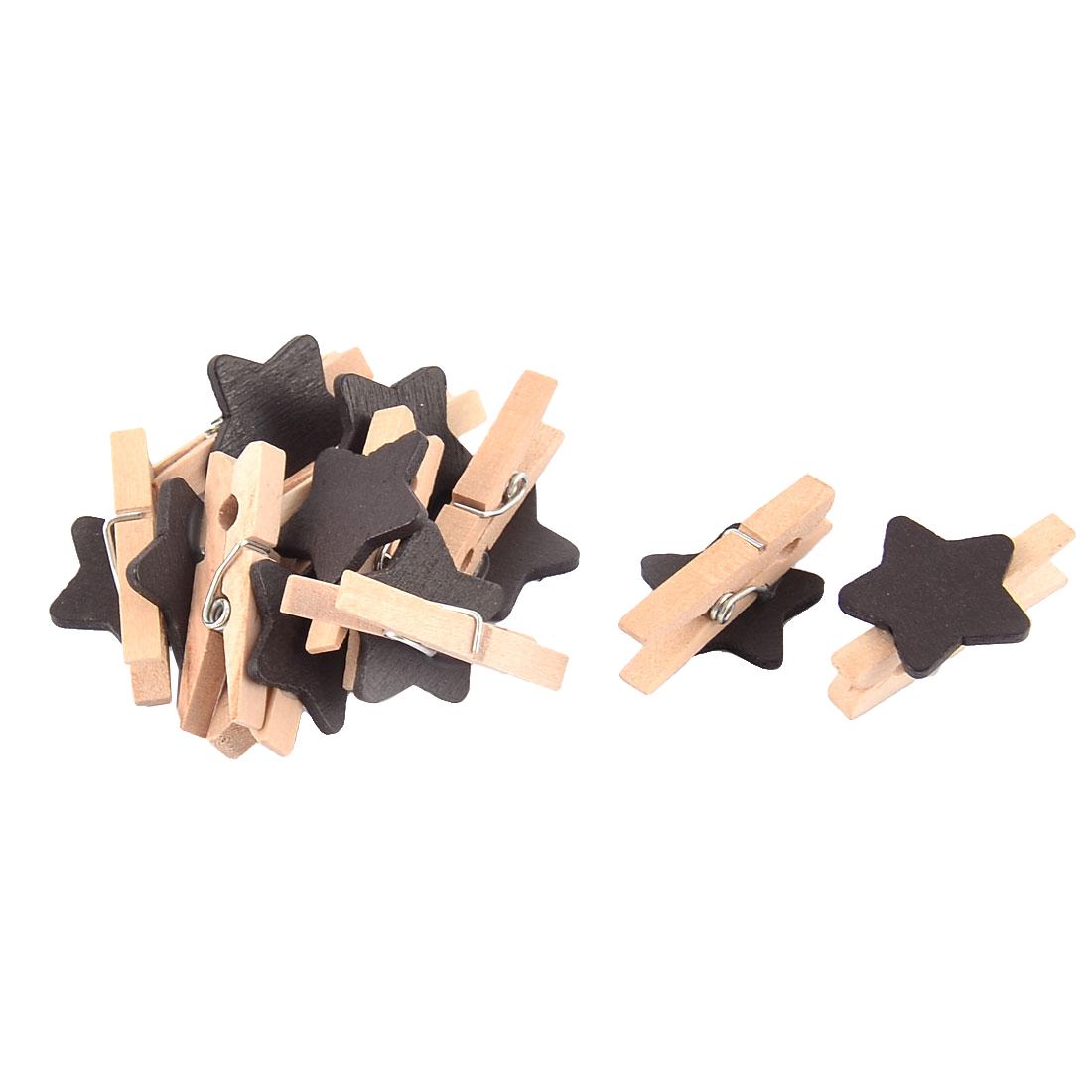 Star Shaped Card Photo Clothes Pegs Craft Mini Wooden Clip Black 10pcs