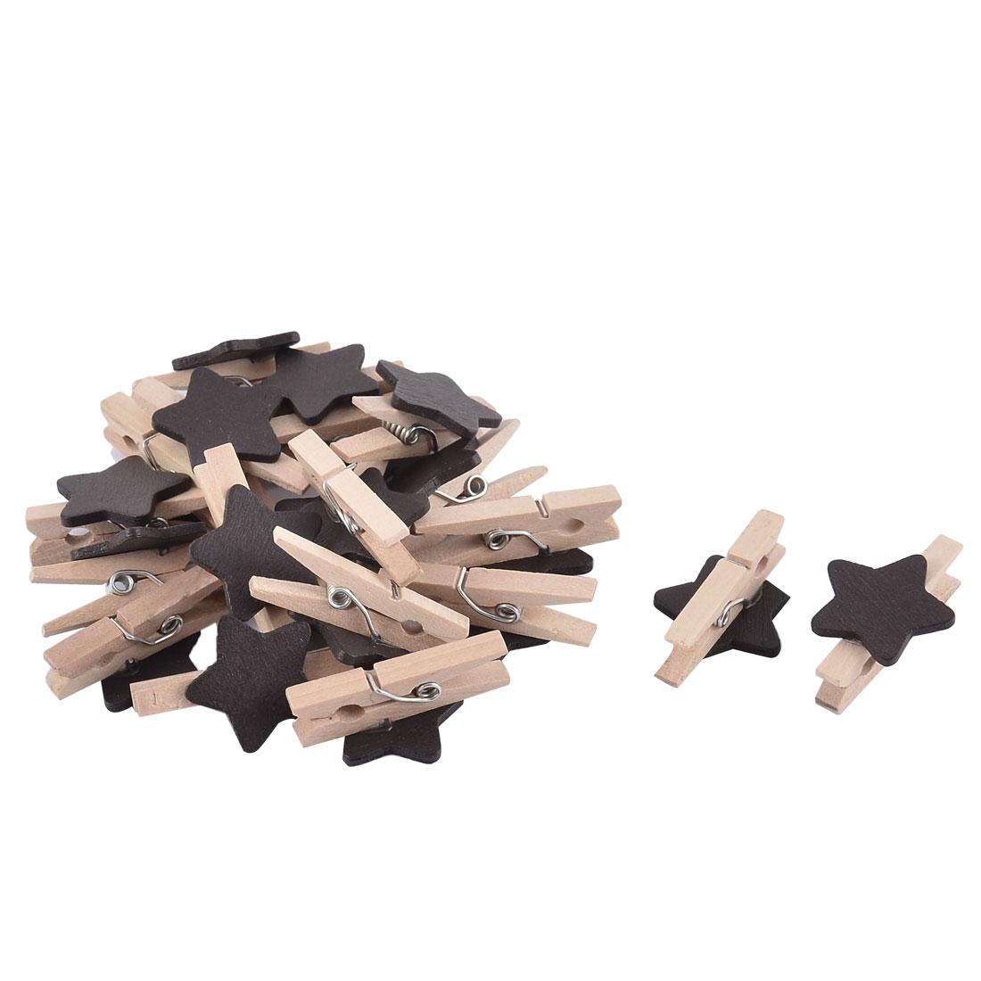 Star Card Photo DIY Decorating Spring Pegs Mini Wooden Clip Black 20pcs