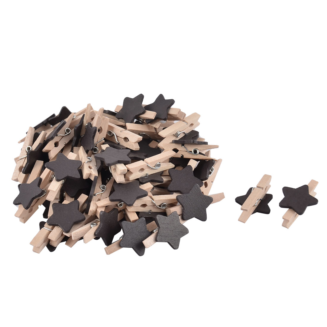 Album Card Photo Spring Pegs Star shape Crafts Mini Wooden Clip Black 50pcs