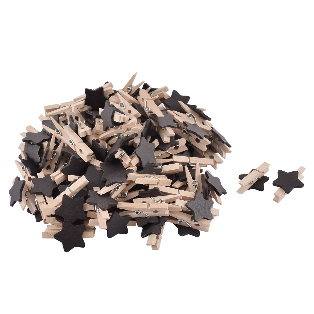 Star Shape Card Photo DIY Crafts Spring Pegs Mini Wooden Clip Black 100pcs