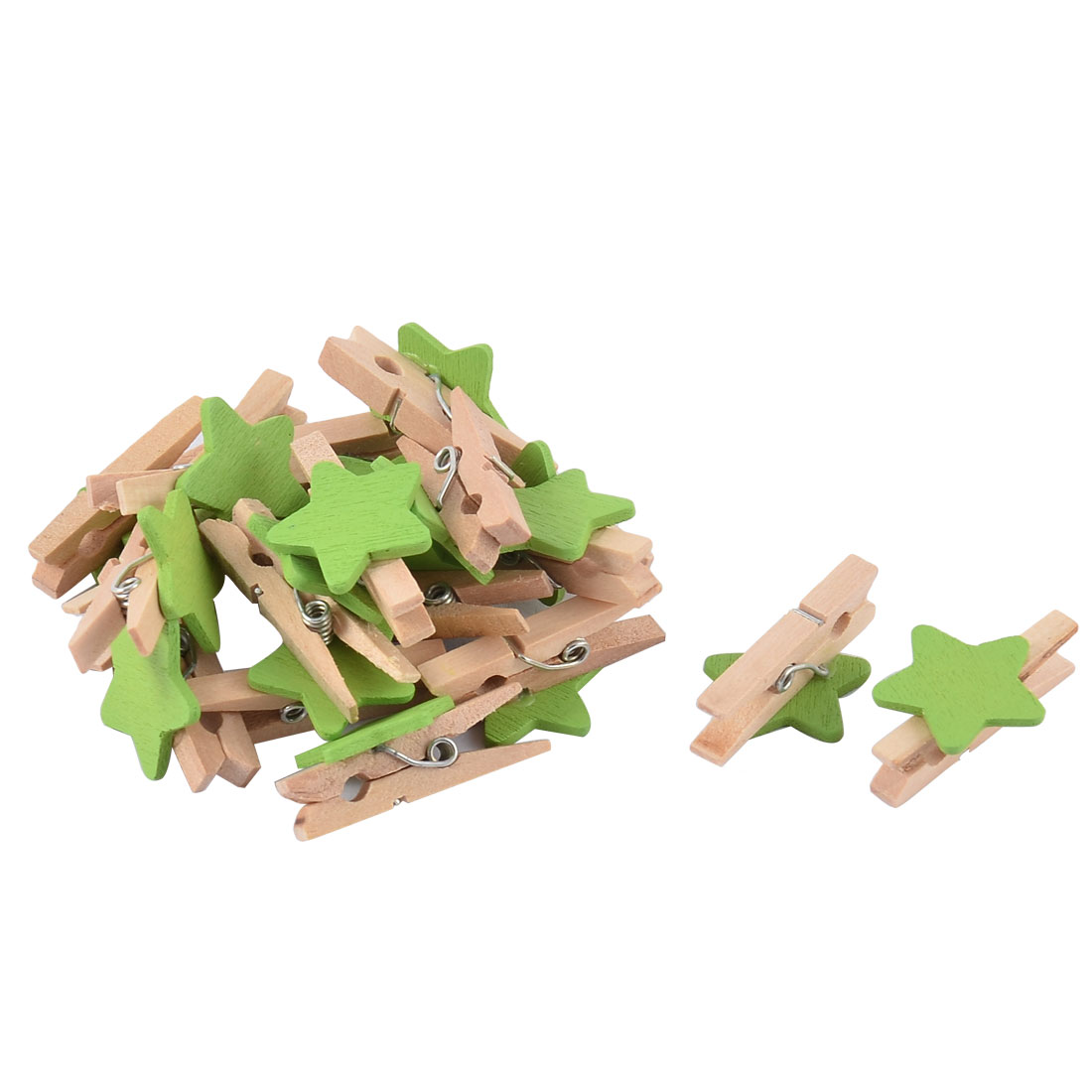 Star Shaped Card Holder Photo Spring Pegs Tiny Mini Wooden Clip Green 20pcs