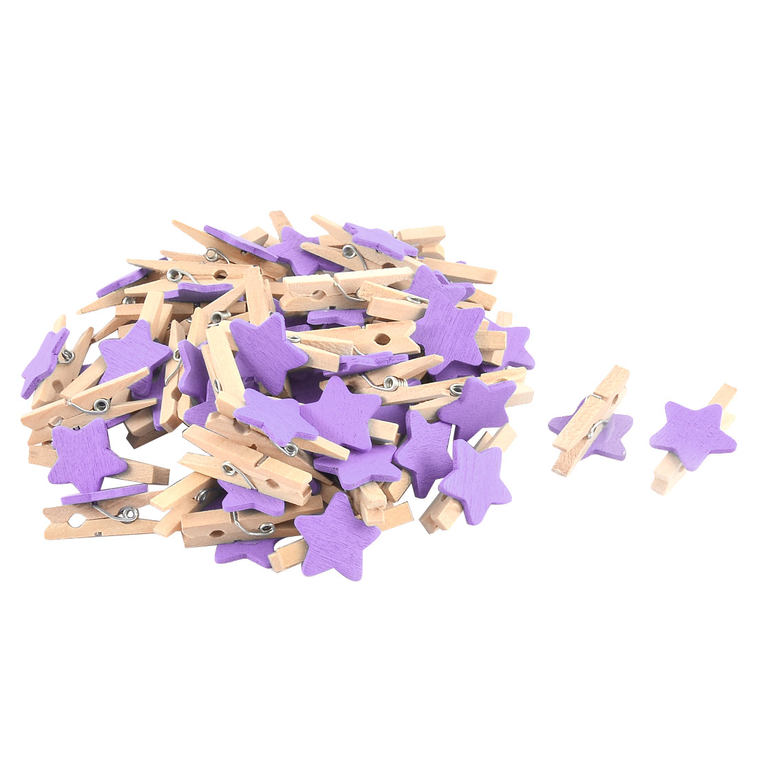 Wall Card Photo Hanger Pegs Star Shape Crafts Mini Wooden Clip Purple 50pcs