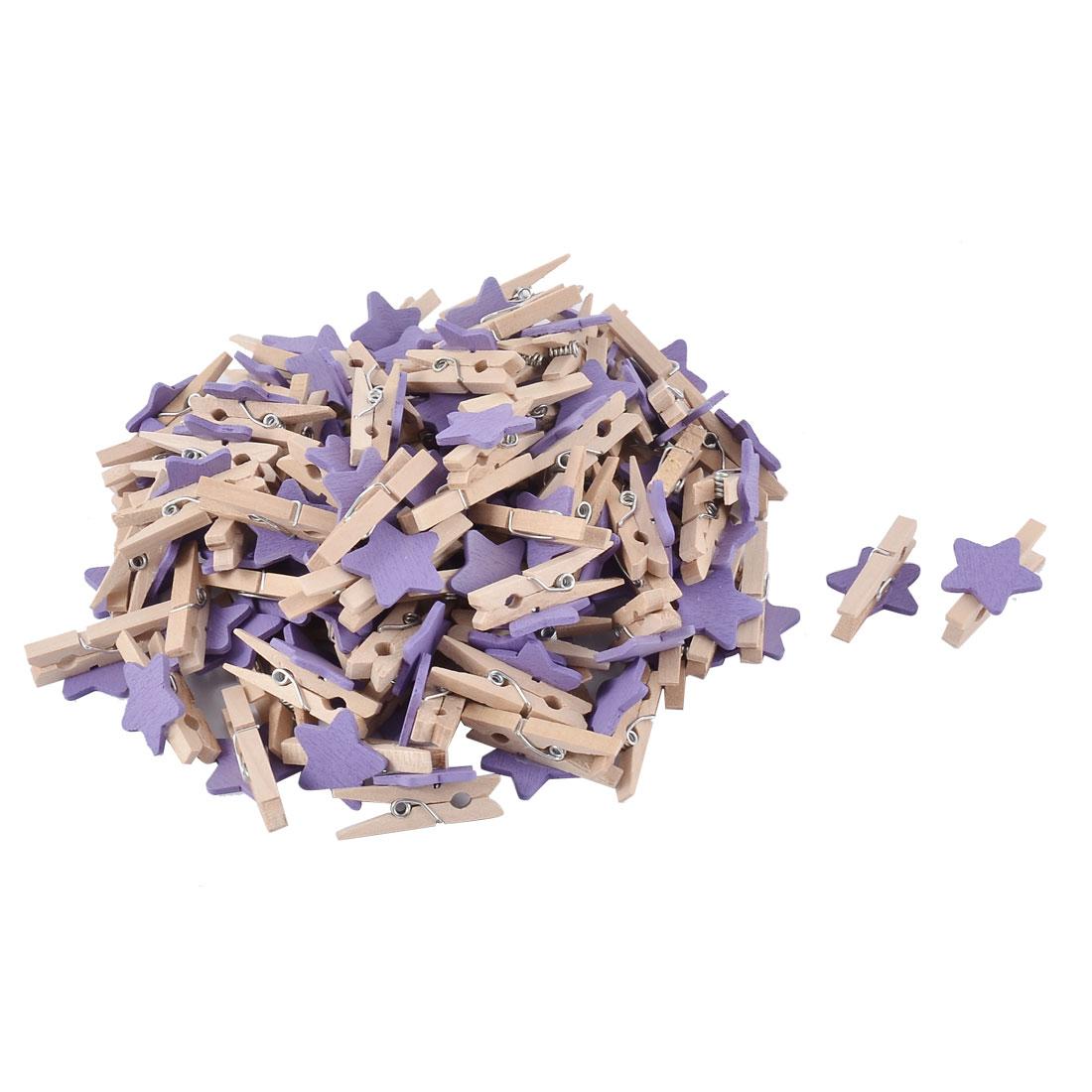 Card Photo Decorating Star Shape Crafts Pegs Mini Wooden Clip Purple 100pcs
