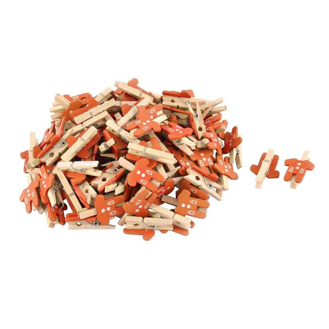 Card Photo Paper Clothes Shape Crafts Mini Wooden Clip Peg Orange 100pcs
