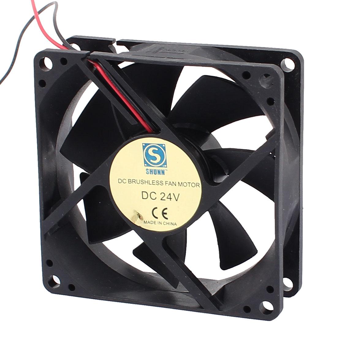 DC24V 80mmx80mmx25mm 7 Vanes DC Brushless Fan Motor PC Case Cooling Fan Cooler
