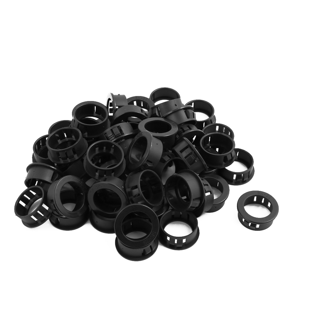 49pcs 25mm Mounted Dia Snap in Cable Wire Bushing Grommet Protector Black